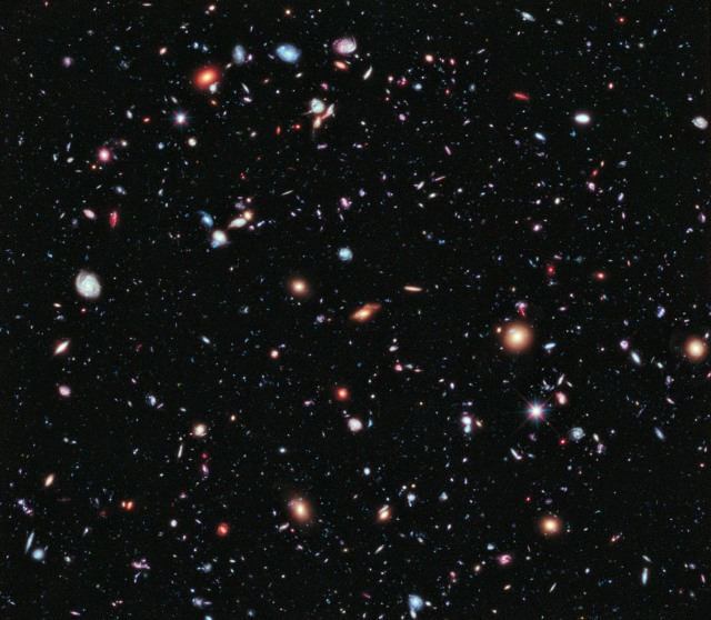 Called the eXtreme Deep Field, or XDF, this photo was assembled by combining 10 years of NASA Hubble Space Telescope photographs taken of a patch of sky at the center of the original Hubble Ultra Deep Field. Photo courtesy NASA.